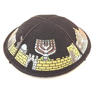 16 cm Jüdische Leder schwarz Kipa Kippa Synagoge Jerusalem Design