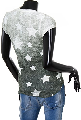 Key Largo Damen T-Shirt Shooting mit Knopfleiste Vintage Look Allover Stars Sterne  Print Druck ... cdd848dfe5