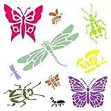 Insects & Bugs Schablone–wiederverwendbar Libellen Schmetterlinge Bienen Ameisen Wand Schablone–Vorlage, auf Papier Projekte Scrapbook Tagebuch Wände Böden Stoff Möbel Glas Holz usw. Größe S