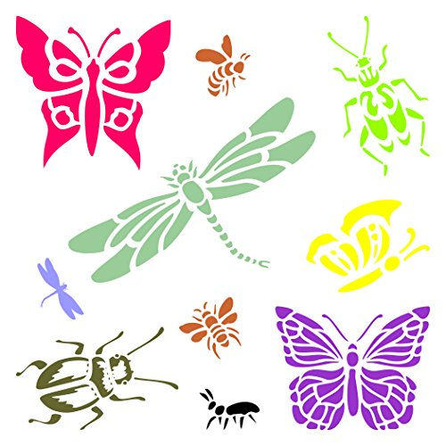 Insects & Bugs Schablone-wiederverwendbar Libellen Schmetterlinge Bienen Ameisen Wand Schablone-Vorlage, auf Papier Projekte Scrapbook Tagebuch Wände Böden Stoff Möbel Glas Holz usw. Größe S