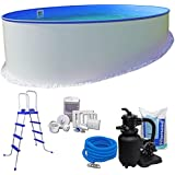 Pool-Set KOMFORT Ø 3,50 x 1,20 m rund - 0,6mm Stahlmantel + 0,6mm Innenhülle (blau) mit Einhängebiese - inkl…