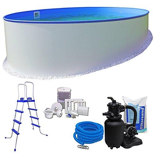 Juego de piscina Komfort - Diámetro de 3,50x 1,20m, redondo, Revestimiento de acero de 0,6mm...