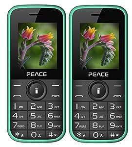 Generic 1.8-inch Dual Sim 850 mAh Battery Wireless FM Bluetooth, Digitel Camera, MP4 Internet Peace P3 Mobile Phone (Green) - Pack of 2