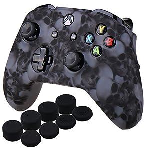 YoRHa Wassertransferdruck Schädel Silikon Hülle Abdeckungs Haut Kasten für Xbox One X & Xbox One S controller x 1 (Grau) Mit PRO aufsätze thumb grips x 8