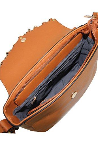 LYDC London Damen Handtasche PU-Leder Umhängetasche Tasche Braun