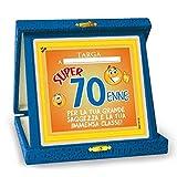 TARGHETTA TROFEO 70 ANNI Gadget idea regalo festa 70° Compleanno Targa SCHERZO
