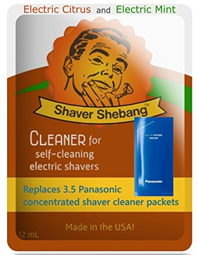 14 Panasonic ES-4L03 and WES-4L03 Concentrate Replacements with a FREE Shebang Bottle* - Citrus & Mint - Shaver Shebang cleaner solution for all Panasonic self-cleaning razors that use a concentrate by Shaver Shebang