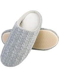 58024664255a5 L-RUN Men's & Women's Knitted Coral Velvet House Slippers Non-Slip Sole  Shoes