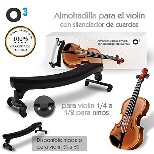O³ Almohadilla Violin 1/4 a 1/2 Ajustable Para Violin Niño - Con Silenciador De Cuerdas | Soporte Para Violin - Respaldo de Hombro Tamaño Pequeño De Goma Alcochado | Para El Violin Para Principiantes