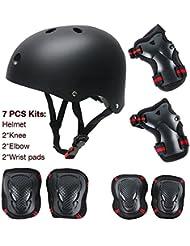 Maxnon Kit de protection 7pièces pour enfant Coudières, genouillères, protège-poignets et casque Red Small