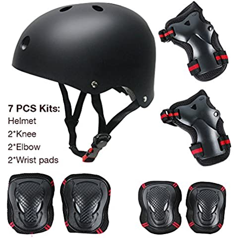 maxnon Coderas y muñequeras para rodilleras y casco infantil/niños deportes protectora de seguridad Gear 7pcs