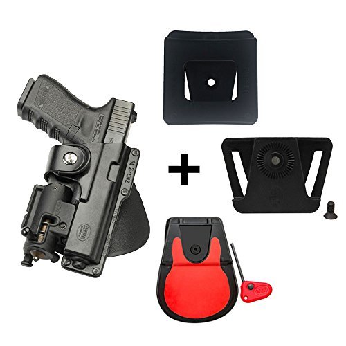 Fobus rotating roto paddle retention tactical holster with safety strap + belt attachment + 6cm police wide duty belt adapter for Glock 17, 22, 31 / Ruger SR45, Ruger American Pistol .45cal full size
