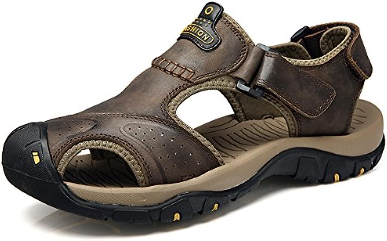Sommer Männer Breathable Leder Sport Sandalen Outdoor Freizeit Anti Rutsch Strand Schuhe Baotou Jugend Cool Slippers