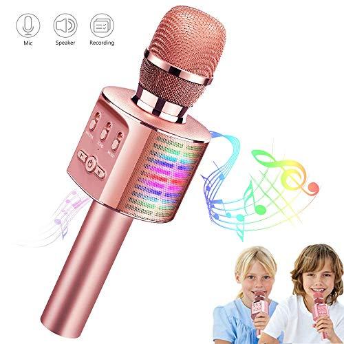 Microfono Karaoke, Tecboss Microfono Bambini con Altoparlante, Microfono Karaoke Bluetooth Wireless con Luci a LED da Discoteca Controllabili, Adatto a Feste, Bambini, Adulti