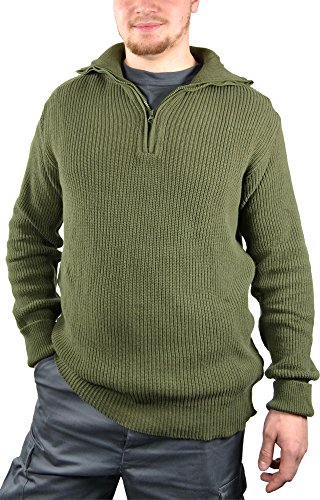 9bde0d2b7abe normani Herren Isländer Pullover Troyer Marine Style mit Rollkragen in  verschiedenen Farben Farbe Oliv Größe 54