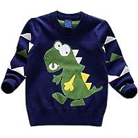 Tkria Toddler Outside Cardigan Dinosauro Pullover Maglione Da bimbo Maglione Per Bambini e Ragazzi Blu Scuro Rosso Grigio 1 2 3 4 5 6 anni