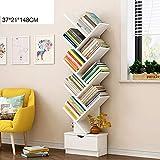 Bücherregale HUO Boden-Studenten-Gestell-einfacher moderner kreativer Bücherschrank-Wirtschafts-Wohnzimmer-Baum-kleines (Farbe : Weiß, größe : 148 * 37cm)