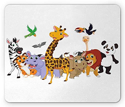 Animals Mouse Pad, Colorful Jungle Animals Hippo Bat Parrot Giraffe Rhino Panda Safari Theme African, Standard Size Rectangle Non-Slip Rubber Mousepad, Multicolor