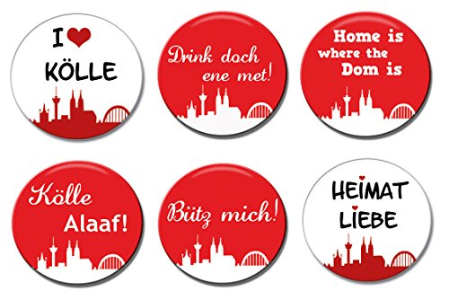 6 Köln-geschenk-set (Polarkind Button Anstecker Karnevalsanstecker 6er Set Kölner Karneval)