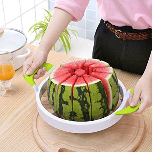 TANG SHI Watermelon Slicer, Premium Große Edelstahl Slicer Watermelon Knife & Fruit Slicer Schnellste Cutter für Melonen, Wassermelone, Ananas und mehr Einfach 12 perfekte Scheiben zu bekommen Melon Cutter