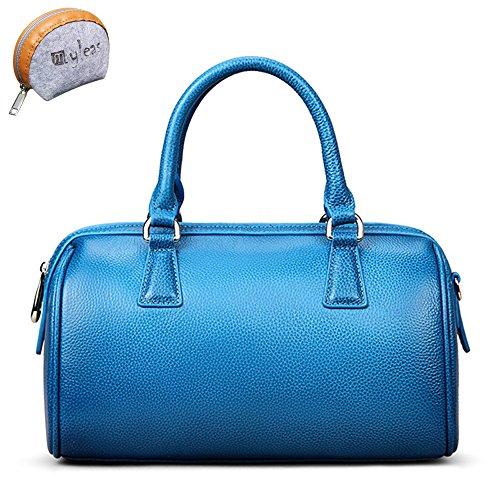 Myleas 2W-ST5646 Damen Retro Echtes Leder Henkeltasche Handtasche Schultertasche Shopper mit Schultergurt Blau