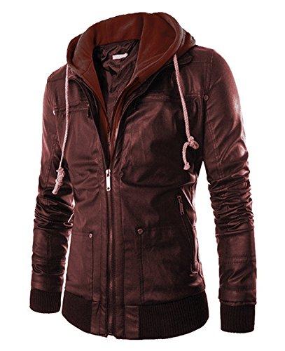 Pomo-Z Men's Faux Leather Hooded Biker Outerwear Jacket (Brown, Large)
