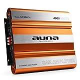 Auna Ampli de Voiture 3/4 canaux pour Tuning Auto et showcars (mosfet,filtres réglables) - Chassis Orange et Argent