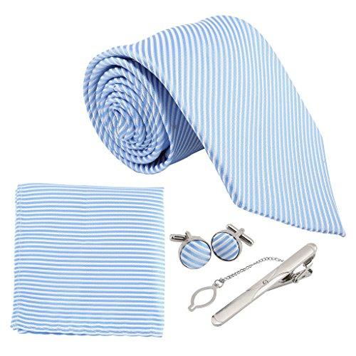 Faleto 4pc Herren Krawatte Set mit 8.5cm Krawatte + ManschettenKnöpfe + Einstecktuch + Krawatte Bar Geschenk Set (Himmelblau-weiß Streifen)
