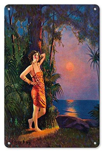 Pacifica Island Art 22cm x 30cm Vintage Metallschild - Hawaii-Pin-up-Girl - Vintage Retro Pin Up Kalender Seite von L. Goddard c.1920s (Vintage Pin-up-kalender)