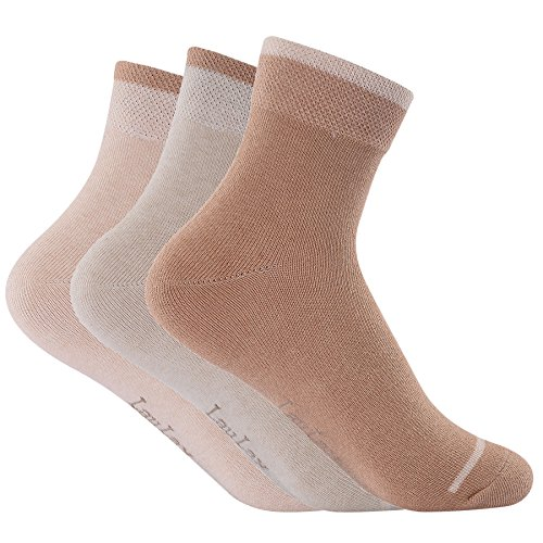 Laulax Ladies 3 Pairs Naturally Colored Organic Cotton Socks, Gift Set, Size UK 3-7 / Europe 36-40, Beige, Light Brown