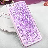 iPhone 6 / 6s TPU Glitzer Hülle   Glitter Schnipsel Folie Optik Design Schutzhülle   Crystal Case mit Glitzer Flocken Bling Bling Muster   Movoja   iPhone-6 lila