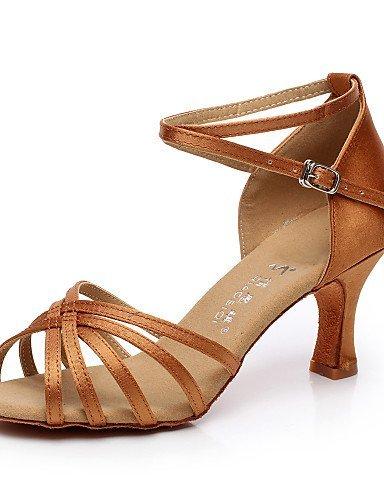 ShangYi Chaussures de danse ( Noir / Marron / Rouge ) - Non Personnalisables - Talon Bobine - Satin / Flocage - Latine / Salsa Brown