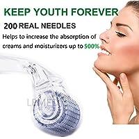 Derma Roller - 200 agujas de titanio para el cuidado de la piel, antienvejecimiento, arrugas, acné
