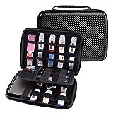 Ropch Elektronik Zubehör Tasche Schutzhülle Tragbare Reisetasche Organizer Tasche Reise Aufbewahrungstasche für Speicherkarten Kabel USB-Sticks Cards - Schwarz