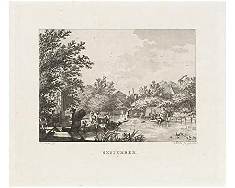 Photographic Print of Figures carrying baskets of fruit on a