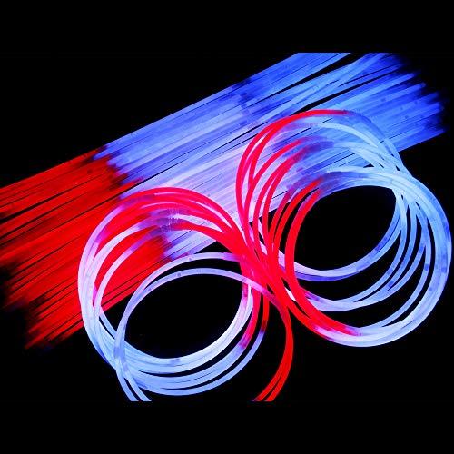 MODEOR J4, 50 Stück 22-Zoll-Rot-Weiß-Blau-Glühen-Stick-Halsketten, patriotische Halskette, Glow-Collier Bulk, Coole Glow-Sticks, Glow-Partypaket für den 4. Juli, Patriotische Party, Memorial Day