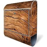Design Briefkasten mit Zeitungsfach, Designer Motivbriefkasten mit Zeitungsrolle kaufen, für A4 Post, groß, bunt, Briefkastenschloss 2 Schlüssel, von banjado Motiv Trockenes Holz