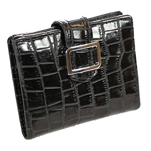 ID Stronghold RFID Geldbörse Leder Croco Mini Trifold für Frauen mit bestem Schutz - Schwarz - Klein -