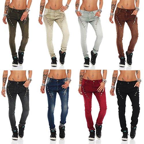 Fashion4Young 10826 MOZZAAR Damen Jeans Jeans Röhrenjeans Haremshose Damenjeans Hüftjeans Baggy (L=40, Schwarz) -