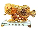 #4: Mohangifts Feng shui Golden Arowana Fish statue for Luck, Wealth and Prosperity big 4x6
