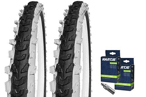 KENDA Set: 2 x Kinder Fahrrad BMX Reifen K829 schwarz-weiß 20x2.00 + 2 SCHLÄUCHE Dunlopventil