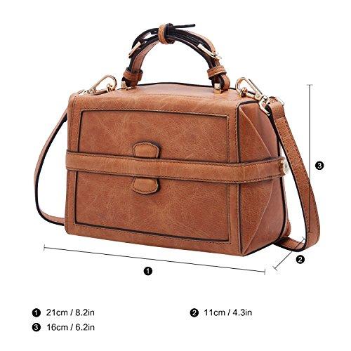 Entwerfer-echtes Leder-Schulter-Beutel für Frauen-Öl gewichst Weinlese-Damen-Handtasche (Brown) Braun-02