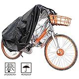 FEMOR Copribici Telo Impermeabile, Copertura Antipolveri Anti-UV per Bicicletta con Sacchetto da Trasportare, Nero e Argento, 200*70*110 cm
