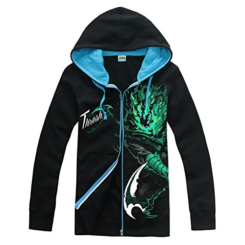 Teemo Kostüm League Of Legends - LOL Hoodie Cosplay League Spiel Kostüm Jacke Herren Yasuo Thresh Zip Sweatshirt Kleidung