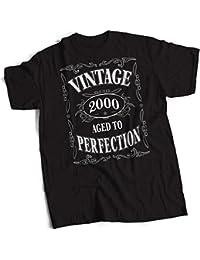 bybulldog® Vintage 2000 Aged To Perfection 18th Birthday Present Gift Mens Premium Black T-Shirt Small to 3XL