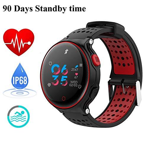 Fitness-Tracker, Fitness-Uhr, Aktivitäten Fitness-Pulsmesser, IP68 Wasserdicht (Schwimmen Unterstützte) , Schrittzähler, Monitor für Schlaf und Blutdruck, Smart-Armband, Kalorien-Zähler, Schwimmen (Red)
