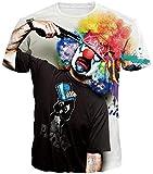 Imbry Herren Bunt Galaxy 3D Druck Rundhals Casual Strassenmode Sport Spaß Motiv Tops T-Shirt(M,Clown)