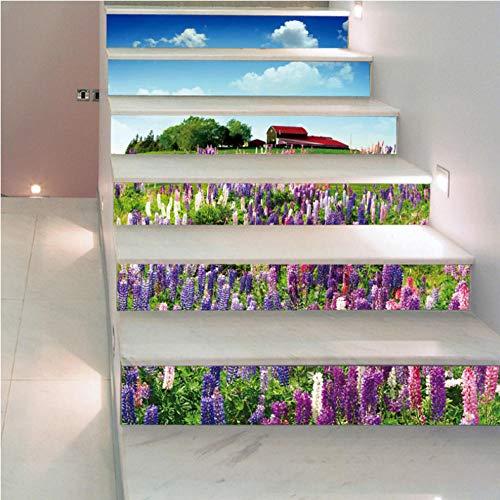 Wangxuan6 Lavendel Lila Blume Treppe Wand Stick Treppe Schritte Dekor Dekor Wohnkultur Boden Aufkleber Wandbild