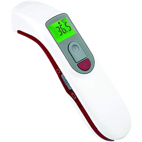 GIMA - Termometro Infrarossi Frontale Laser Digitale Professionale, per Febbre, Istantaneo, Senza Contatto, per Neonati, Bambini e Adulti, Thermoscanner con Allarme, 2 AAA incluse, lingue GB,FR,IT,ES