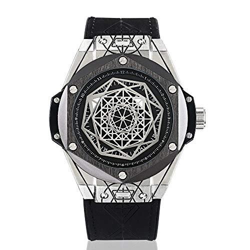 LYZwb Armbanduhren Wasserdichte Perspektive Fenster Individuelles Zifferblatt Modellierung Herren Sportuhr Uhr Weiße Schale Schwarzer Kreis